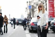 84 Outfit Ideas For Style Extroverts #refinery29  http://www.refinery29.com/2015/03/83675/paris-fashion-week-2015-street-style#slide-42  An outer layer with some bulk means you can leave your jacket at home.