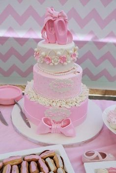 Lovely cake at a Ballerina Birthday Party! See more party ideas at CatchMyParty.com!