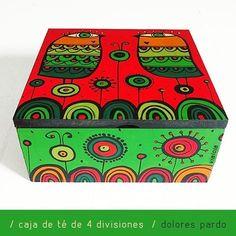 ♥️#caja #pintadaamano de #te con 4 divisiones en la tienda 472 y 19 #cityell ♥️ . . #vialola #verde #naranja #rojo #color #decoracion #objetoutilitario #madera #handmade #hechoamano #pajaros #cocina #tea #regalo #casa #interior #homedecor #homesweethome #artsandcrafts #dolorespardo #laplata #bsas Rojo Color, Madhubani Painting, Posca, Painted Pots, Wood Boxes, Mandala, Decorative Boxes, Illustration Art, Bird