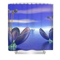 Alien Flowers Shower Curtain by Nicholas Burningham