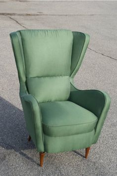 green small wingback armchair