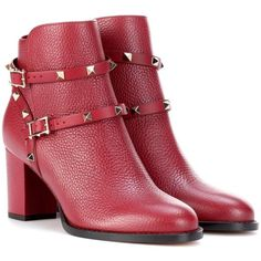 Valentino Valentino Garavani Rockstud Leather Ankle Boots ($1,265) ❤ liked on Polyvore featuring shoes, boots, ankle booties, red, short leather boots, red leather booties, red leather boots, leather ankle bootie and red booties