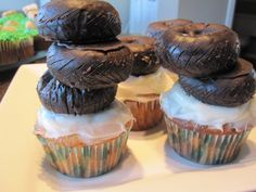 chocolate covered donuts as a stack of tires on a cupcake! so easy