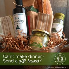 Cute gift baskets perfect for holiday giving.  And My Olive Press has free shipping for a limited time!  #custom #personalized #gift #hostess #holiday #giftbasket #myolivepress www.myolivepresss.com