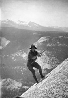 Mountain climber climbing Half Dome in Yosemite National Park, ca.1930. http://digitallibrary.usc.edu/cdm/ref/collection/p15799coll65/id/10960