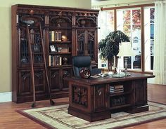 Office Furniture: Barcelona Executive Desk Home Office Furniture Solid Wood Metal Accents Leather -> BUY IT NOW ONLY: $1716.12 on eBay!