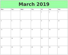 Calendrier 2019 Xls.29 Best March 2019 Printable Calendar Images In 2019