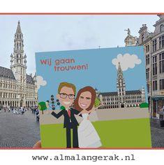 Trouwenaan de Grand Place in Brussel.   Deze toffe en persoonlijke trouwkaarten mocht ik maken.  Op deze kaarten staan de Grand Place, het Atomium én natuurlijk het bruidspaar uitgelicht!  Aan de binnenkant staat de skyline van Brussel met onder andere: Hotel de Ville, Kathedraal van St. Michiel en St. Goedele, en het Koninklijk Paleis.  #brussel #bruxelles #grandplace #atomium #trouwkaarten #justmarried #trouwfotograaf #huwelijk #engaged #verloofd #grandplace #atomium