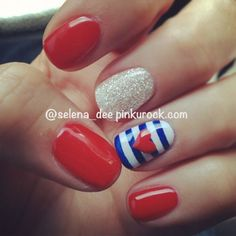 If you're spending the 4th of July on a lake, try this nautical and patriotic nail design! #usanails #summernails #nailart