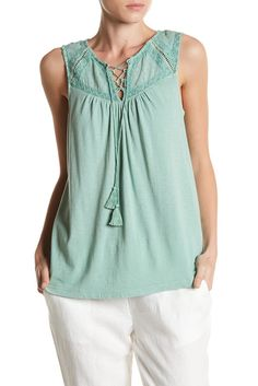 Image of Lucky Brand Lace-Up Washed Tank