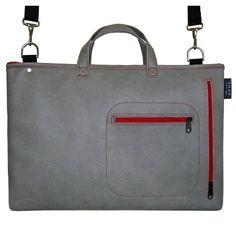 "15"" UNI-LAP + strap : grey w/ red"