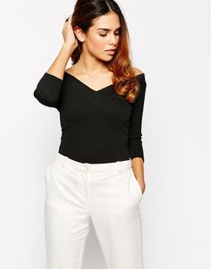 Image 1 of Warehouse Textured Bardot Top