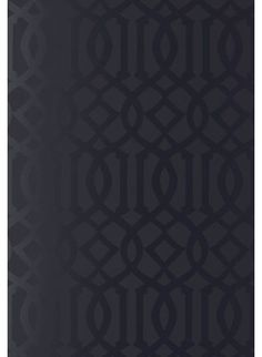 Imperial Trellis Wallpaper, Onyx Gloss»  A subtly textured black wallpaper that plays with finish as much as pattern.