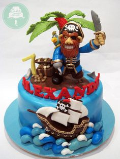 Everything on this cake is handmade from fondant. We're thinking of starting up a class on advanced figurine modelling soon featuring ol' Brown Beard here. :)