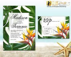 Hawaiian Leaves Wedding Invitation & RSVP by GlamPrettyWeddings