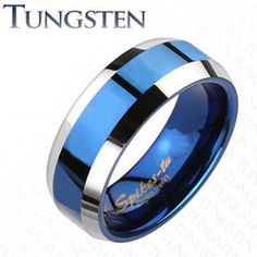 8MM Tungsten Carbide Blue IP Bevel Edges Wedding Ring Half Size 7-14 in Jewelry & Watches, Men's Jewelry, Rings | eBay