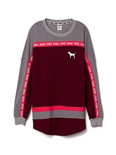 Victorias Secret PINK Varsity Crew Color Block Large Burgundy -- Be sure to check out this awesome product.