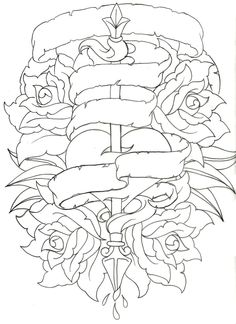Traditional Heart and Rose Tattoo by ~Metacharis on deviantART something like this for my grandparents?