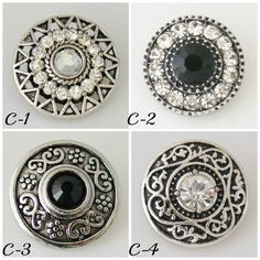 Chunk charms for Noosa or Gingersnap style Jewelry. Pick one snap charm or all snaps with a black or clear stone center. by BeaditBracelets on Etsy