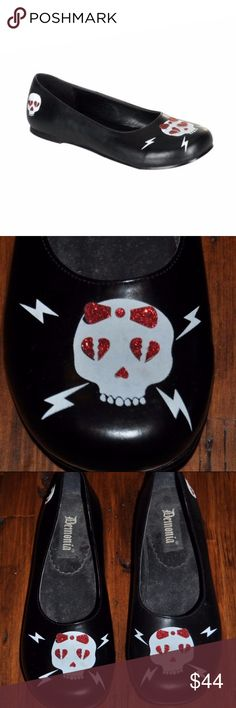 *HOST PICK* DEMONIA Skull Goth Lolita Flats Shoes Host Pick ~ best in shoes & boots Party ~ 10/22/17  size 11 condition: excellent style: Daisy-66  Slip On Black Flat Shoes with Skull and Red Glitter Heartbroken Eye Design. Demonia Shoes Flats & Loafers