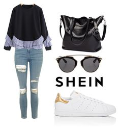 """""""SHEIN Sweatshirt"""" by tania-alves ❤ liked on Polyvore featuring Topshop, adidas and Christian Dior"""