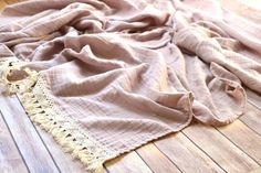 Muslin Throw Mama Blanket Hand Dyed with Fringe Trim Neutral Driftwood organic cotton Adult Size double gauze Muslin Blankets, Muslin Swaddle Blanket, Minky Blanket, Snuggle In Bed, Gift Of Time, Fringe Trim, Color Shades, Driftwood, Organic Cotton