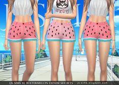 Watermelon Denim Shorts Sims 4 CC Maxis Match