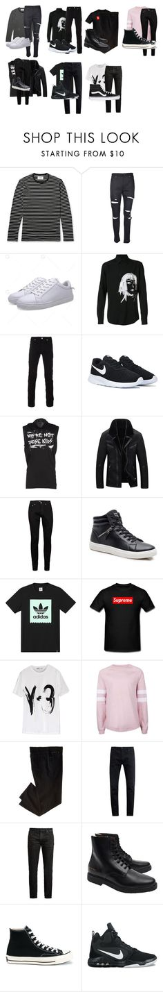 """Untitled #2702"" by aurorazoejadefleurbiancasarah ❤ liked on Polyvore featuring Yves Saint Laurent, Yohji Yamamoto, Versace, Dsquared2, Topman, adidas, Y-3, Neuw denim, MasterCraft Union and Common Projects"