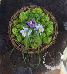Ring Bearer natural pillow  moss and vine with by vineandmoss, $39.00