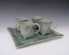 mugs with tray . . . love the texture and colour . . .
