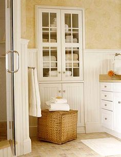 Another Example Of Built In Hutch In Place Of Linen Closet Bathroom Storage Cabinetsbath