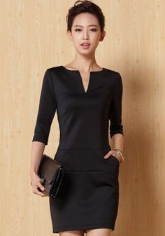 "Black Plain Half Sleeve Mini Dress–forget the ""mini"" part, but I want this dres… Black Plain Half Sleeve Mini Dress–forget the ""mini"" part, but I want this dress in knee length. Hmmm…tailor here I come. Elegant Dresses, Nice Dresses, Casual Dresses, Belted Shirt Dress, Bodycon Dress, Flannel Dress, Mode Chic, Mini Dress With Sleeves, Plain Dress"