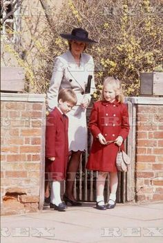Easter 03 April 1988: The Princess of Wales, Prince William, and Zara Phillips, leaving Easter services, St George's Chapel