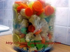 Pickled Cauliflower with celery carrots and peppers - The meals grandmother Greek Recipes, Paleo Recipes, Cooking Recipes, Pickled Cauliflower, The Kitchen Food Network, Crudite, Butter, Food Network Recipes, Vegan Vegetarian