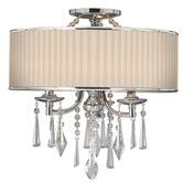 Found it at Wayfair - Echelon 3 Light Convertible Drum Pendant (colors -Bridal (as shown) or Tuxedo (dark)