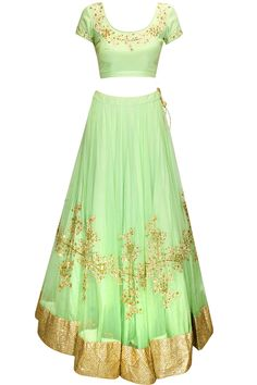Mint green sequins embroidered lehenga set available only at Pernia's Pop-Up Shop.