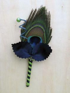 peacock boutenniere