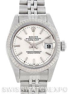 Rolex Datejust Ladies Steel 18k White Gold Watch 79174