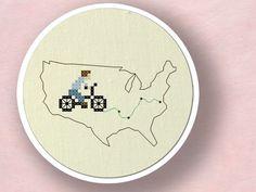 Biking across the United States Cross Stitch PDF by andwabisabi