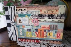StoryTeller Book cover - love this class that I'll be teaching this fall at scrapbook stores using the October Afternoon Public Library collections and Crate Paper Open Road collection in a Heidi Swapp album. Mini Albums Scrap, Mini Scrapbook Albums, Altered Books, Altered Art, Vintage Paper Crafts, Crate Paper, Class Projects, Recycled Art, Mini Books