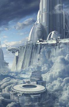 Skyship Cove by Juan Carlos Mesa Machin Fantasy City, Fantasy Places, Sci Fi Fantasy, Fantasy World, Futuristic City, Futuristic Design, Futuristic Architecture, Futuristic Technology, Chinese Architecture