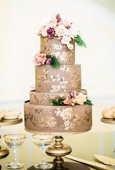 Taupe and gold cake from Sky's the Limit Cakes inspired by 19th century china patterns.