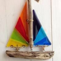 Fused glass and driftwood boat suncatcher -