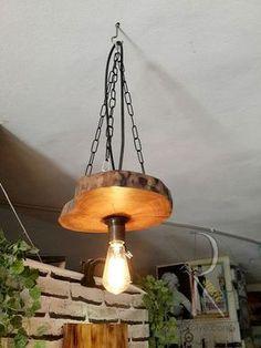 Rustik Ceviz Kütüğü Sarkıt - TT26 Ceviz Ağacı Dilimi, Zincir ve Rustik Duy kullanılarak hazırlanmıştır. Ürün.... 416449