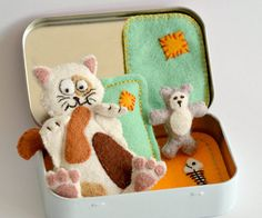Felt Cat Plush Sleeping in an Altoid Tin by CreaturesInStitches