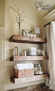 Wonderful Useful Tips: Floating Shelves Bathroom Pantries floating shelves around tv tv frames.Floating Shelves Over Bed Storage floating shelf decor stairs.How To Build Floating Shelves Shelf Brackets. Rustic Bathroom Shelves, Bathroom Shelf Decor, Floating Shelves Bathroom, Bathroom Ideas, Bathroom Storage, Small Bathroom, Glass Shelves, Bathroom Remodeling, Bathroom Wall