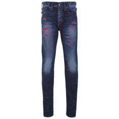 Mens Blue True Religion Lost Arts Rocco Skinny Fit Denim Jeans via Polyvore featuring men's fashion, men's clothing, men's jeans, mens skinny jeans, mens skinny fit jeans and mens jeans
