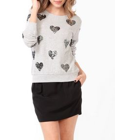 Sequined Hearts Pullover | FOREVER21