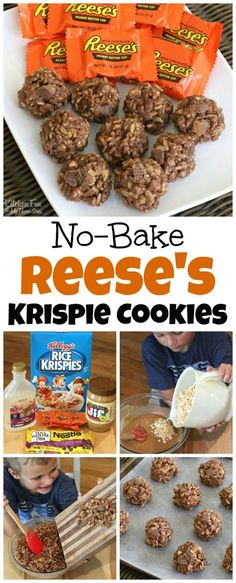 Reese's Cookies - No Bake Peanut Butter & Chocolate Rice Krispies Treats Recipe #reeces #cookies