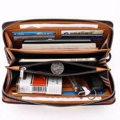 2016 Luxury Male Leather Purse Men's Clutch Wallets Handy Bags Business Carteras Mujer Wallets Men Black Brown Dollar PriceMens Wallets